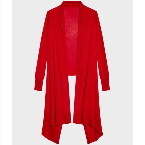 DKNY silk cotton cashmere hi lo long red Cardigan